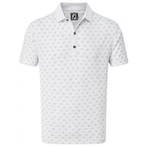 FootJoy Smooth Pique Weather Print Men's Golf Shirt - White