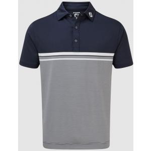FootJoy Lisle Engineered End on End Stripe Men's Golf Shirt - Navy/White
