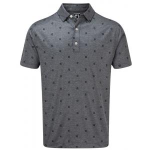FootJoy Smooth Pique FJ Tonal Print Mens Golf Shirt - Navy
