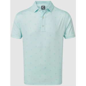 FootJoy Smooth Pique FJ Tonal Print Men's Golf Shirt - Ice Blue