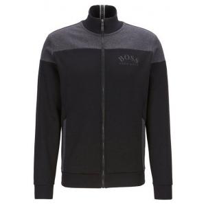 Boss Zip Through Sweatshirt In Contrast Fabrics With Curved Logo - Black