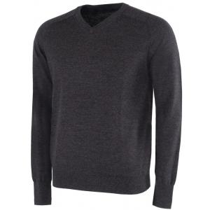 Galvin Green Carl Knitted V-Neck Pullover - Black Melange
