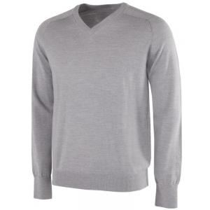 Galvin Green Carl Knitted V-Neck Pullover - Grey Melange