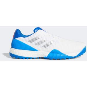 Adidas CodeChaos Sport Wide Fit Golf Shoe - Cloud White/Silver Metallic/Glow Blue