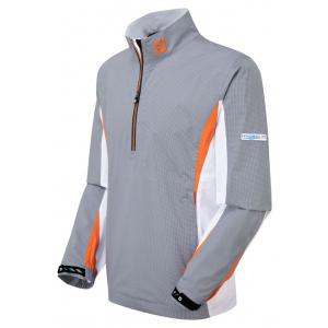 95571 Steel Grey & White Check with White & Orange - FootJoy HydroLite Rain Shirt