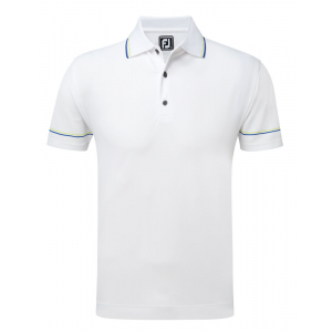 FootJoy Smooth Pique With Collar And Sleeve Stripes #91979 - White/Green/Blue